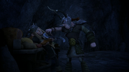 Dagur threatens Tuffnut with his axe