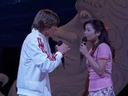 Gabriella and Troy singing during the callbacks for Twinkle Towne