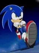 Sonic was running backward
