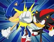 Sonic and Shadow fighting