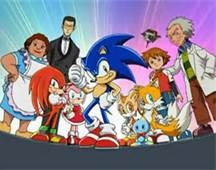 Sonic with his friends in Sonic X