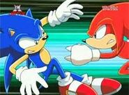 Sonic and Knuckles fighting