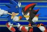 Shadow punch Sonic in the stomach