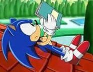 Sonic was reading a book