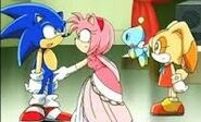 Sonic was surprise that Amy's beautiful