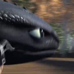 Беззубик держит в зубах ногу Иккинга