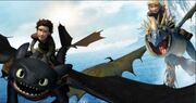 Hiccup and Astrid flying