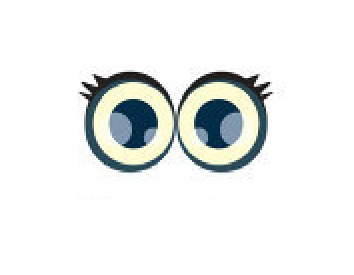 Cartoon pair of female big eyes with eyelashes