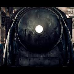 the locomotive's headlight
