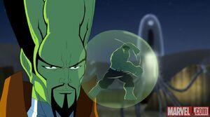 The leader captures a mini hulk