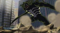 Venom-Skaar is looking to the team and spidey