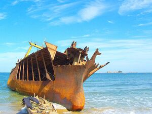 Shipwreck, Beach Near Lake Sijung, North Korea 800px