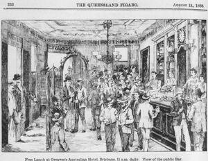 StateLibQld 1 116836 Free lunch at Greaves's Australian Hotel, Brisbane, ca. 1888