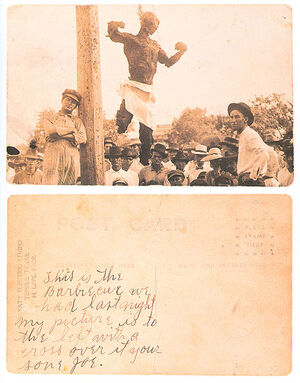 Postcard of the lynched Jesse Washington, front and back 470px
