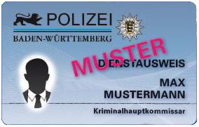 Baden-Württemberg Neuer Polizeidienstausweis Vorderseite