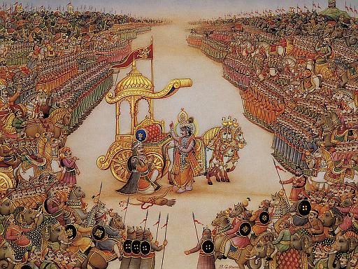 BG Krishna instructs Arjuna