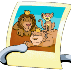 Putt-Putt's picture of the lion family. Kenya appears in the top right.