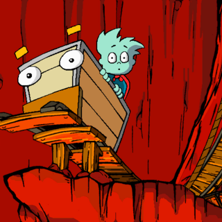 Pajama Sam left the hook on King as they go down the high rail to get the <a href=