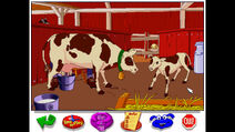 The farmer milking his pet dairy cow