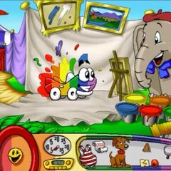 Baby Jambo with rainbow colored Putt Putt