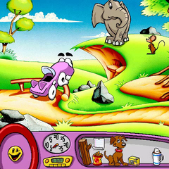 Putt-Putt trying to shoo the giant mouse away.