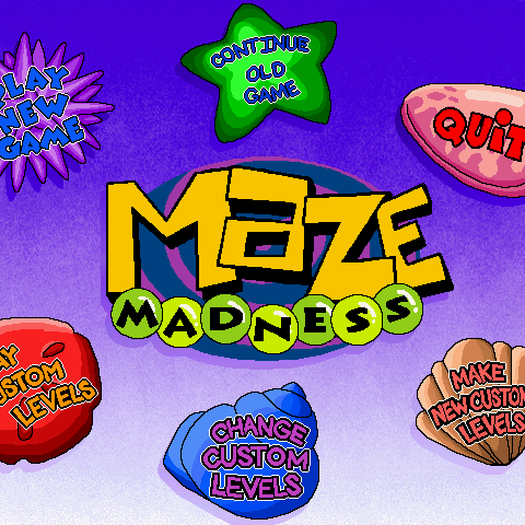 The main menu, featuring six different options.