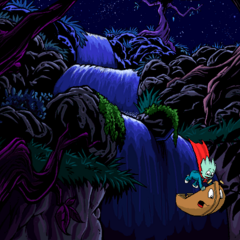 Pajama Sam and Otto falling down the waterfalls