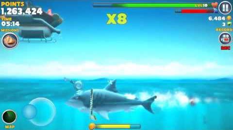Hungry shark evolution eating Santa.