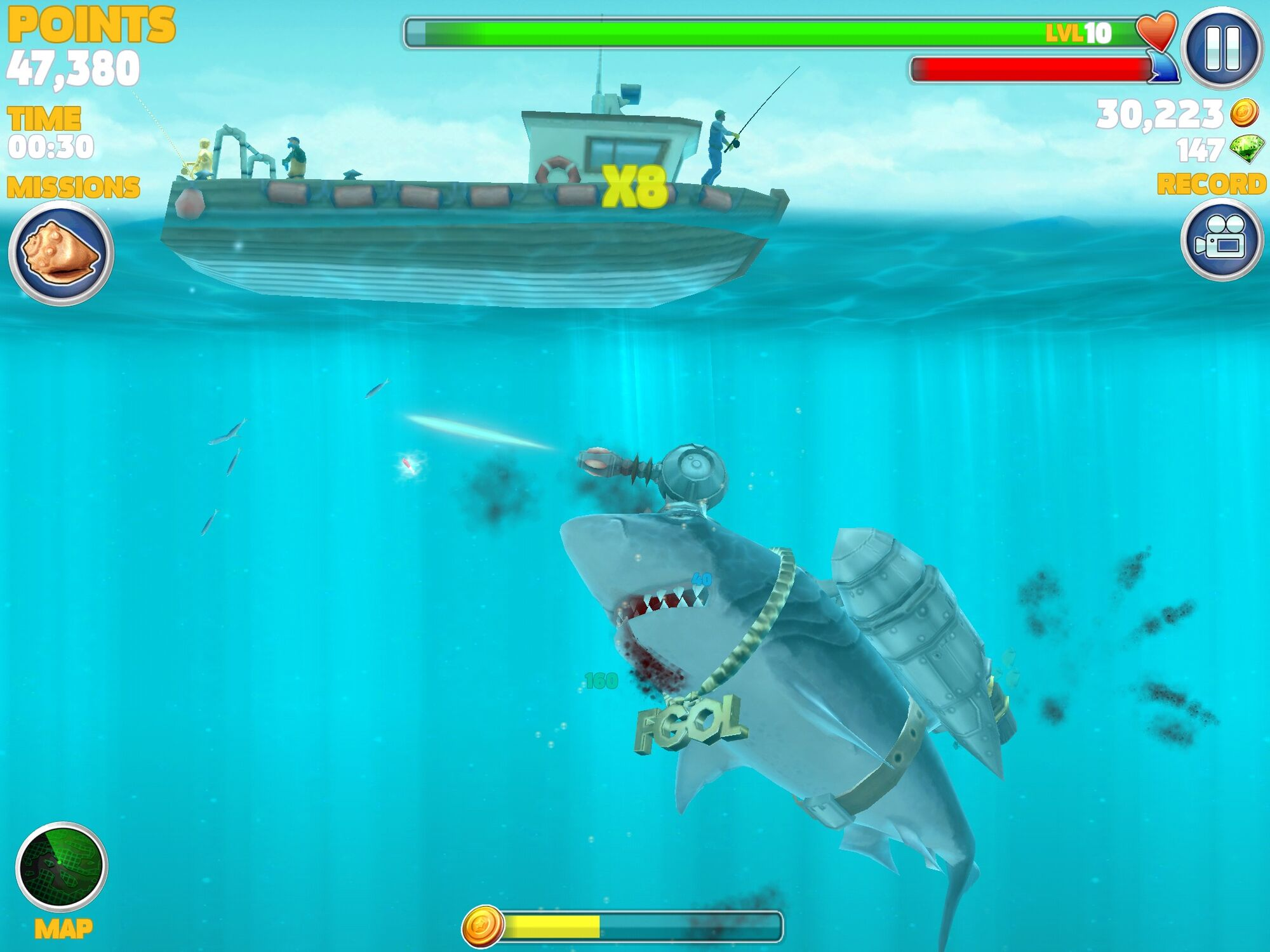 Small fishing boat hungry shark wiki fandom powered by for Fishing boat games