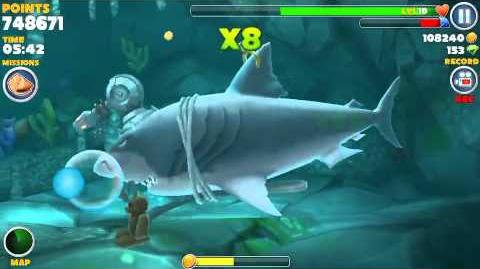 Hungry shark evolution, all 15 sunken (hidden) object locations found in one swim using Megalodon-0