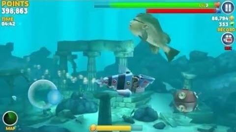 Hungry shark evolution, finding the Kempy Bass out of his cave using Robo shark