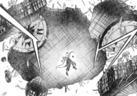 Haiji suspending falling debris
