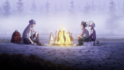 Gon and Killua talking with Kite