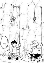 Gon and Killua holding ropes tied to rocks