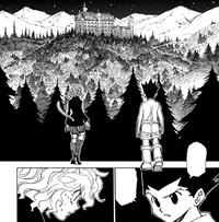 Chap 303 - Gon and Pitou arriving at Kite's location in Peijin