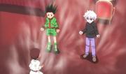Gon, Killua y Zushi practicando Ren