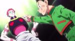 Gon le devuelve la placa a Hisoka
