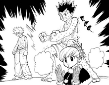 Chap 202 - Biscuit congratulating Gon and Killua on their Ren training
