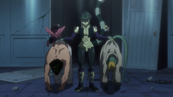 Meruem brings Knuckle and Meleoron for interrogation