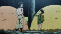 Gon gives Ging's Hunter license back