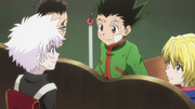 Leorio Gon Kurapika and Killua meeting