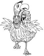 Kurapika boarded on bird, ready to leave village