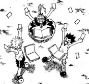 Killua, Biscuit, and Gon collect 57 cards