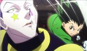 Gon golpea a Hisoka