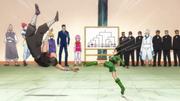 Gon kicks Hanzo in the face