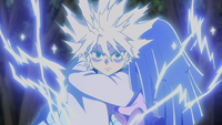 Killua activating Godspeed