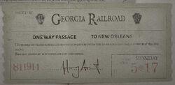 Georgia Railroad ticket