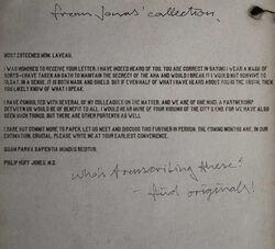 Letter to Laveau
