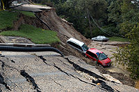 Hurricane Gaston landslide damage