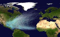 Atlantic hurricane tracks